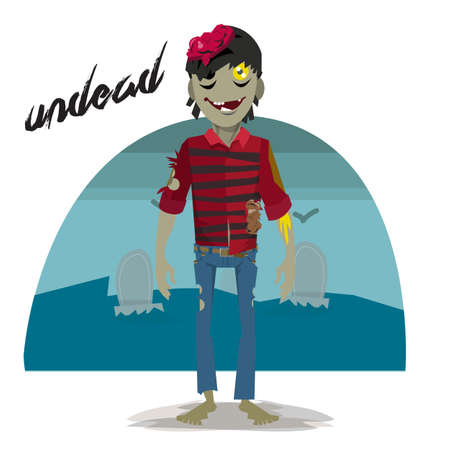 reanimated: zombie character with graveyard - vector illustration