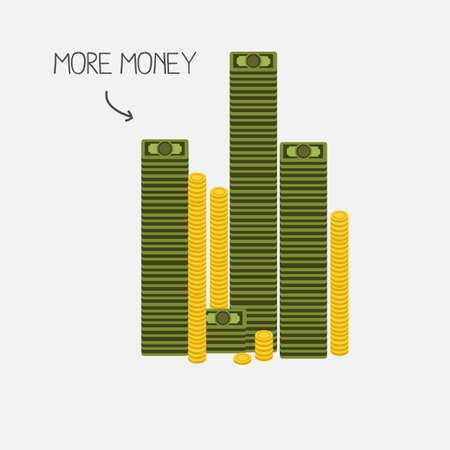 paper currency: money tower. banknotes and coins concept - vector illustration