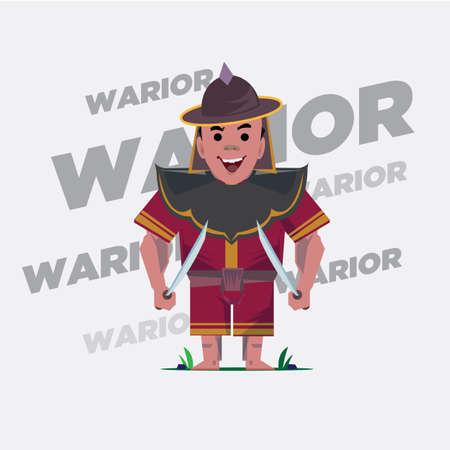 cambodian: old warrior - vector illustration