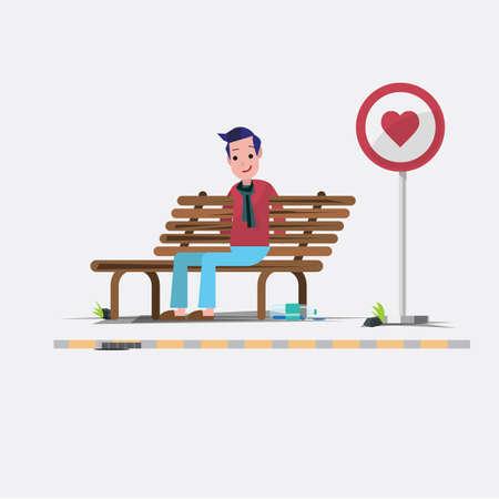 to sit: Chico están a la espera para el amor - ilustración vectorial