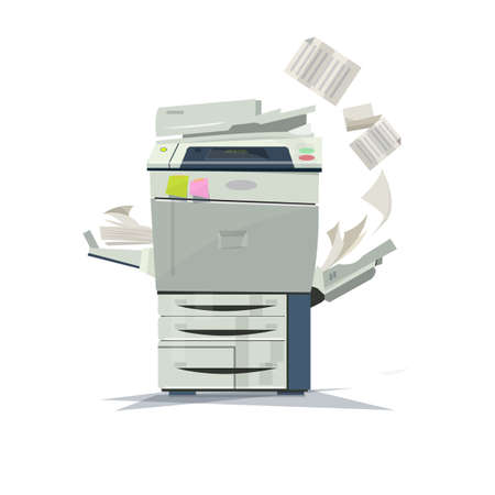 multifunction printer: working copier printer - vector illustration