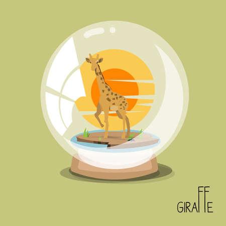 stuffing: giraff in glass ball. stuffing. vector illustration Illustration