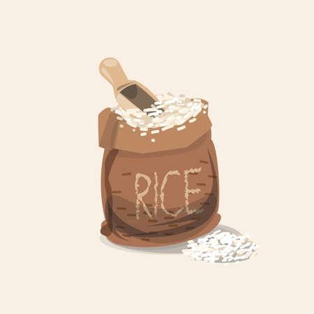 arroz blanco: bolsa de arroz - ilustración vectorial Vectores