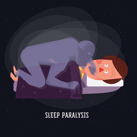 slaap verlamming. geest. duivel - vector illustration