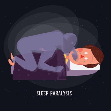 sleep paralysis. ghost. devil - vector illustration