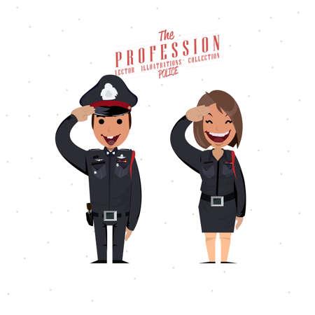 gorra polic�a: car�cter de polic�a - ilustraci�n vectorial