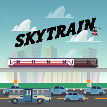 vehicle track: skytrain in the city.railcar. electric train. traffic jam - vector illustration