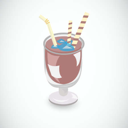 chocolate mousse: ice cocoa - vector illustration Illustration