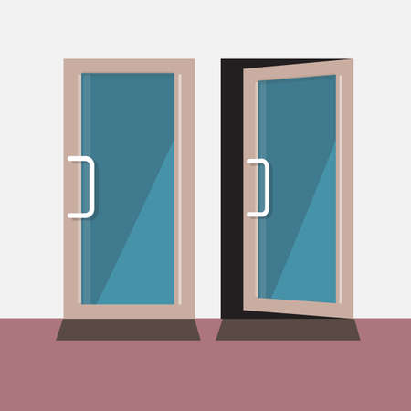 door: close and open door - vector illustration Illustration