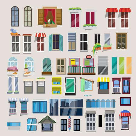 ventana abierta: Conjunto de ventanas - ilustración vectorial Vectores