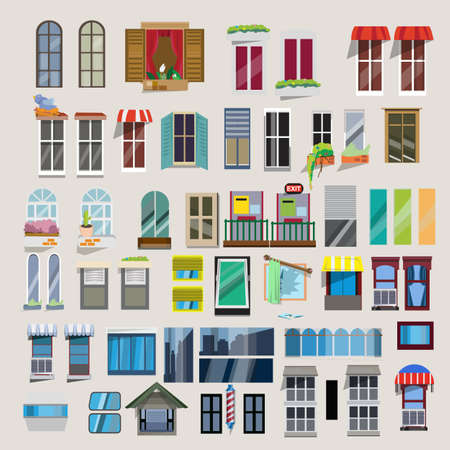 office window view: Set of windows - vector illustration