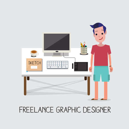 freelance graphic designer - vector illustration