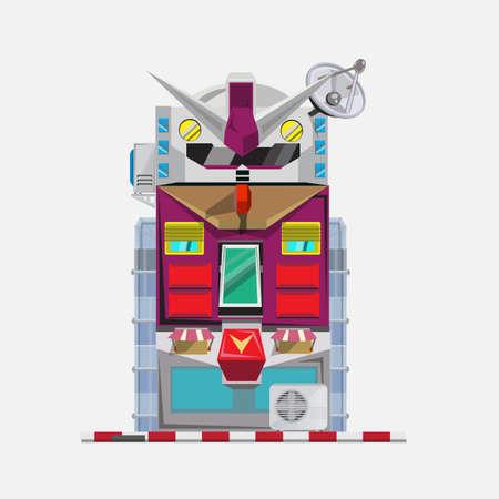 oz: robot building - vector illustration