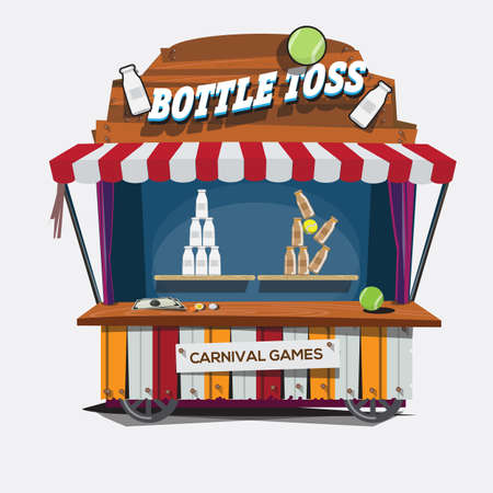 amusement park rides: carnival game. Milk Bottle Toss - vector illustration Illustration