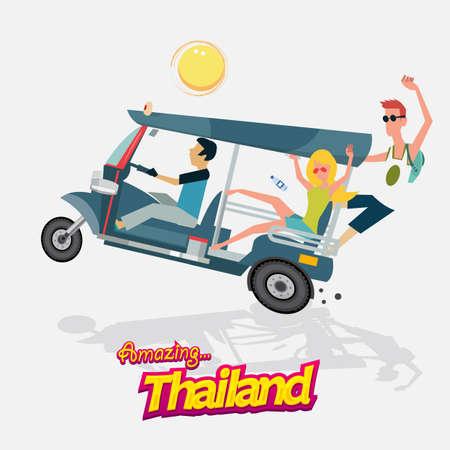 turismo: tre ruote di auto con il turismo. tuk tuk. Bangkok Thailand - illustrazione vettoriale