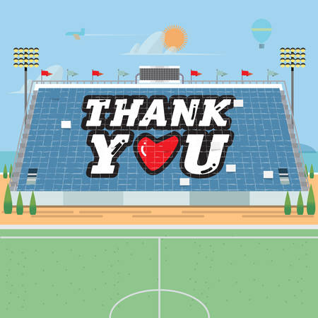 grandstand: stadium card stunts. thank you - vector illustration Illustration