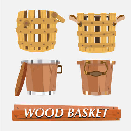 milk pail: wood basket - vector illustration