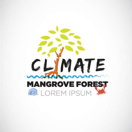 mangrove forest: mangrove forrest. letter. save the forest - vector illustration Illustration