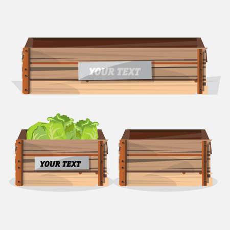 fresh produce: wood crate - vector illustration