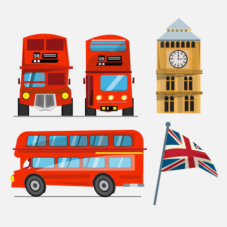 city of london: London red double decker bus. big ben and Great Britain waving flag - vector illustration
