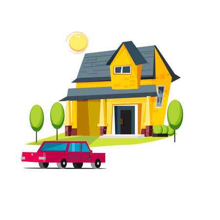 yards: home and car. happy family - vector illustration
