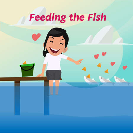 pail tank: smilely lady are feeding the fish - vector illustration Illustration