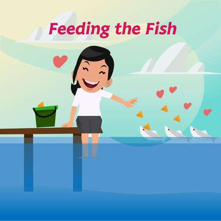 nourishing: smilely lady are feeding the fish - vector illustration Illustration