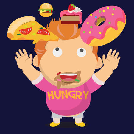 fat kid: hungry fat boy and his falling dessert - vector illustration