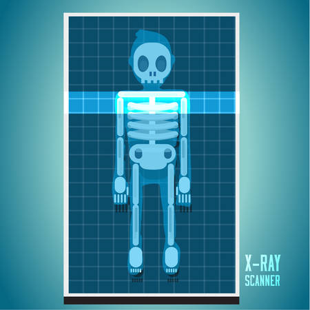 scanning: x-ray scanning on human body. skeleton - vector illustration