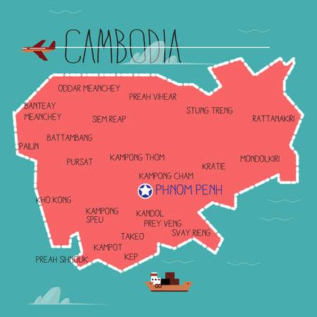 penh: cambodia map - vector illustration Illustration