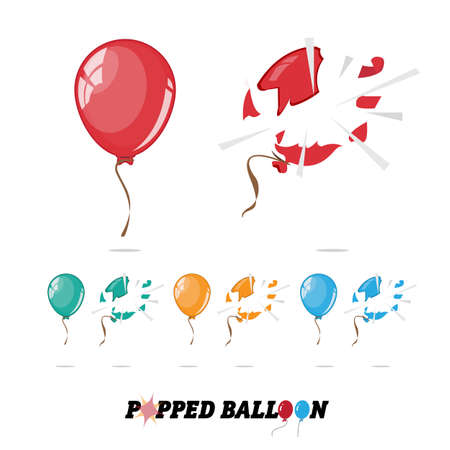 pop: popped balloon - vector illustration