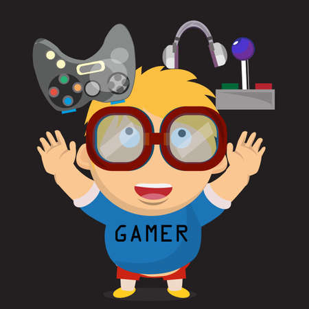 gamer: gamer kid. boy character - vector illustration