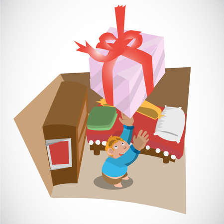 gift of hope: young boy and falling present box from the sky at his bed room. hope - vector illustration