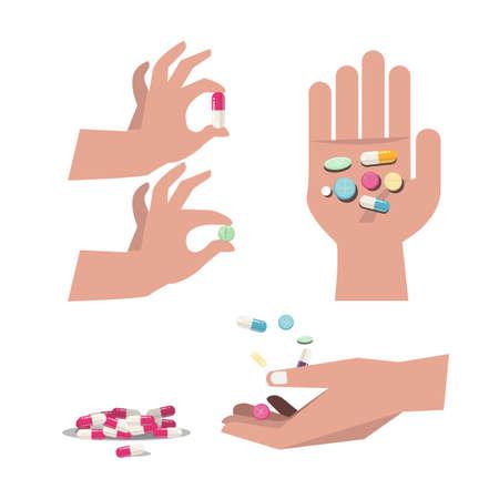 pastillas: píldoras y tabletas con la mano. medicina - ilustración vectorial Vectores