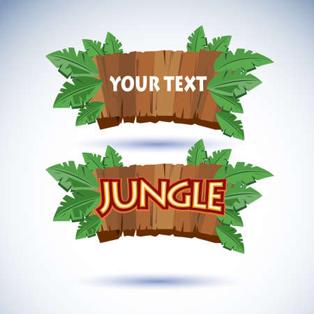wooden panel: jungle wood sign - vector illustration