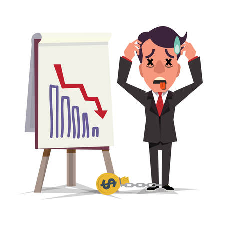 broken down: Business man standing and looking statistic arrow dawn. crisis dept man concept - vector illustration