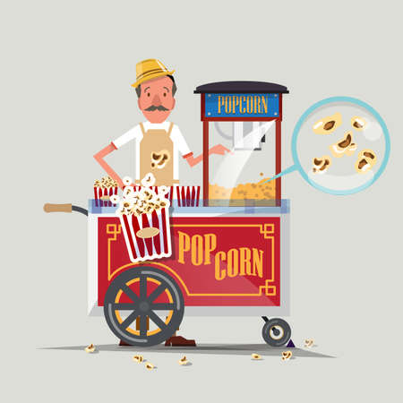 eating popcorn: popcorn cart with seller - vector illustration
