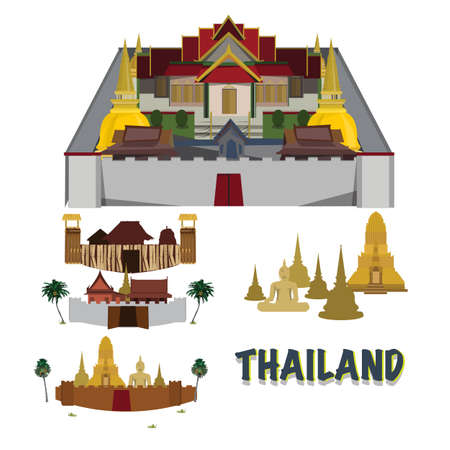 king thailand: Thailand grand palace. city in wall. temple. camp - vector illustration