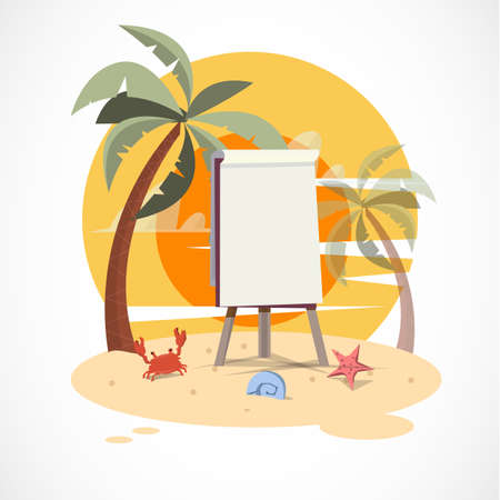 beach sunset: paperboard on the beach with sunset - vector illustration