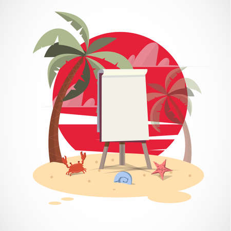 paperboard: paperboard on the beach with sunset - vector illustration