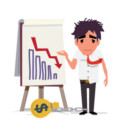 dept: Business man standing and looking statistic arrow dawn. crisis dept man concept - vector illustration