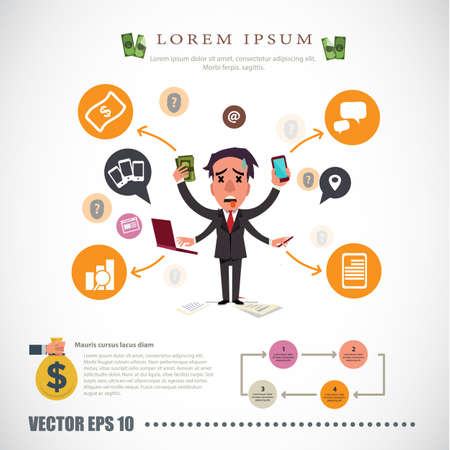 work stress: busy man. businessman character - vector illustration