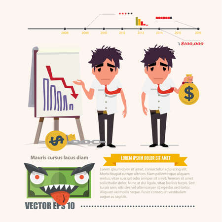 dept: dept man with chart. infographic - vector illustration