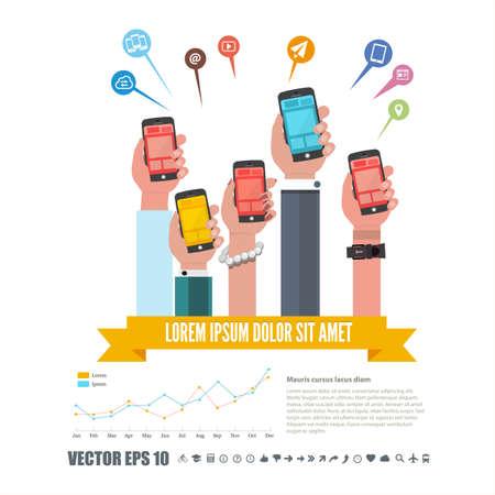 スマート フォンやインフォ グラフィック、ネットワーク アイコンが付いた携帯電話を持って手のグループです。技術コンセプト - ベクトル図