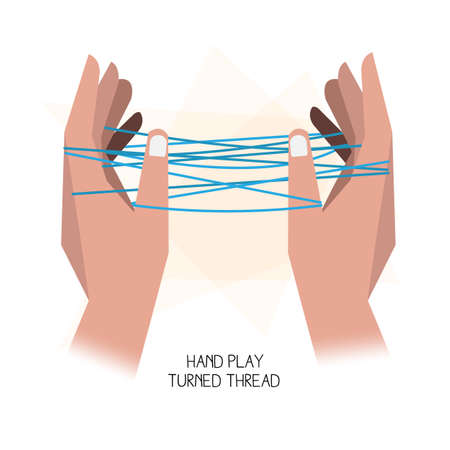 turned: Hand play. Turned thread - vector illustration