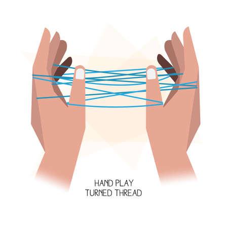 games hand: Hand play. Turned thread - vector illustration