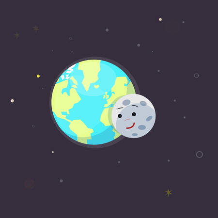 earth planet: earth and moon. love - vector illustration Illustration