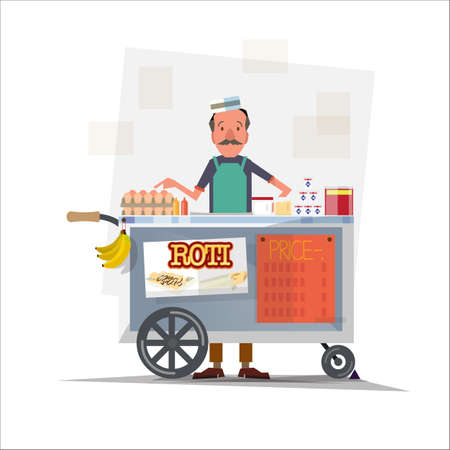 curry dish: roti seller with cart - vector illustration
