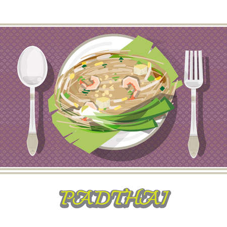 banana leaf food: Thai food Pad thai , Stir fry noodles with shrimp on banana leaf. thai noodle style on luxury plate with fork and spoon.tablecloth - vector illustration