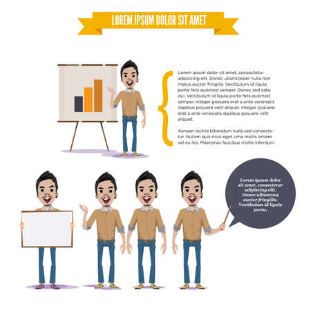 paperboard: man with presenting board. graph chart in paperboard. character concept - vector illustration